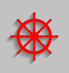 Ship wheel sign red icon with soft shadow vector
