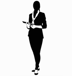 silhouette of business woman in suit vector image