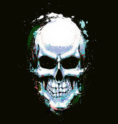 skull artistic splatter light blue n green vector image