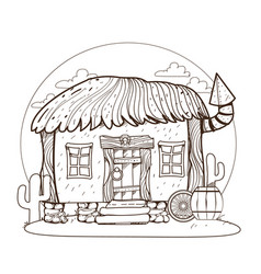 Thatched hut design gaming applications game vector