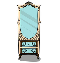 The cabinet is pale pink with brown details and vector