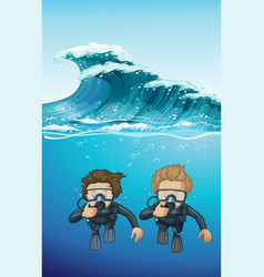 Two divers under the ocean vector