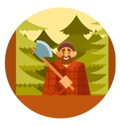 Woodcutter in the forest vector