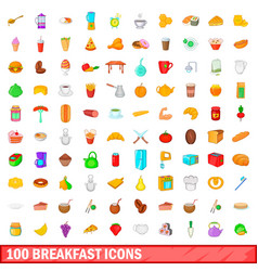 100 breakfast icons set cartoon style vector