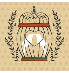Beautiful card with birds in cage vector image