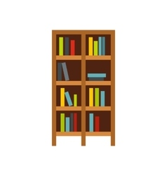 Shelf of books icon flat style vector