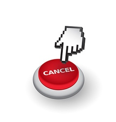 Red Cancel push button sign emblem Hand w vector image