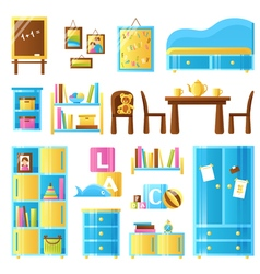 Baby room furniture colored set vector