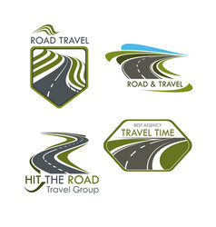 Road travel and tourism icons set vector