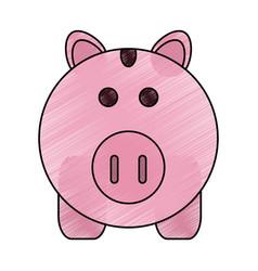 color pencil cartoon pink piggy bank with dollar vector image