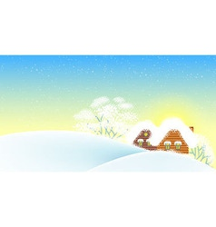 Winter landscape with houses vector image