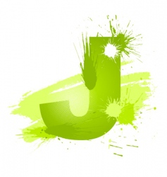 Paint splashes font letter j vector