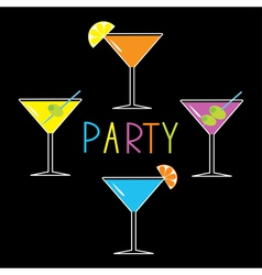 Colorful martini set on black cocktail party vector