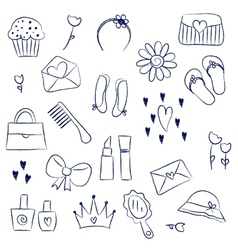 Girl accessories chalky doodles vector