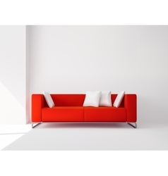 Red sofa with white pillows vector