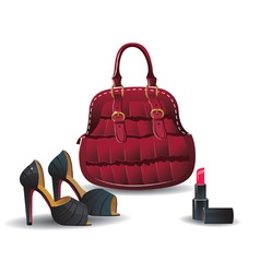 handbag, shoes and lipstick vector image
