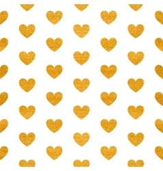 Seamless pattern of golden hearts vector