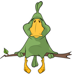 Green parrot cartoon vector image