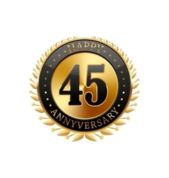45 years anniversary golden label vector