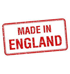 Made in england red square isolated stamp vector