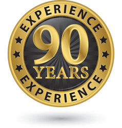 90 years experience gold label vector image vector image