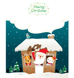 Santa claus snowman and animals in house vector