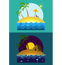 Tropical island vacation postcard with palm beach vector
