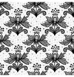 Black lace flower isolated on white background vector image