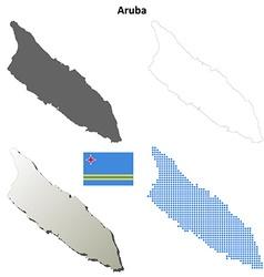 Aruba outline map set vector image