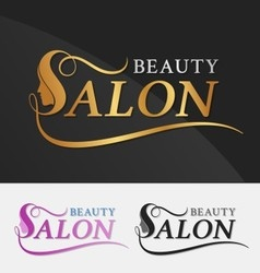 Beauty salon logo design with female face vector image vector image