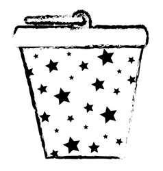 Bucket pot starry isolated icon vector