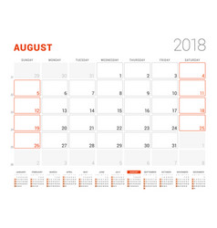 Calendar template for 2018 year august business vector