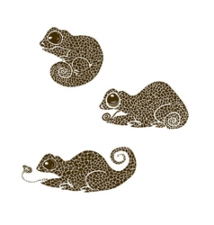 Chameleons made in one color under the stencil vector