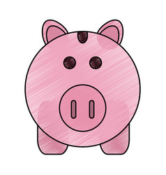 color pencil cartoon pink piggy bank with dollar vector image