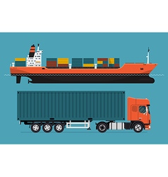 Container Ship and Truck Icon vector image