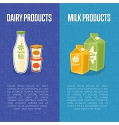Dairy products vertical flyers with space for text vector image
