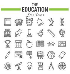 education line icon set school symbols collection vector image