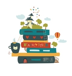 Fairytale concept with book and medieval castle vector