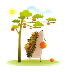 Farm hedgehog near apple tree harvesting vector
