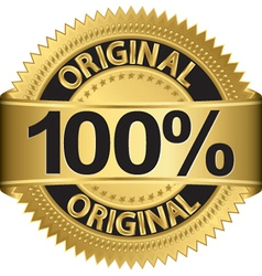 Golden 100 percent original label vector image