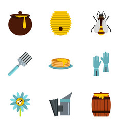 Honey and bee icons set flat style vector