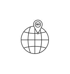 local seo icon globe with pin symbol vector image vector image