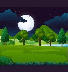 night scene with fullmoon in the park vector image vector image