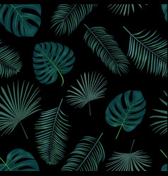 seamless hand drawn pattern with green palm vector image vector image