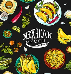 Simpless pattern mexican food vector