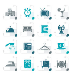 stylized hotel motel and travel icons vector image