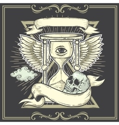 Tattoo-art designWingsHourglass Skull Eye of vector image vector image