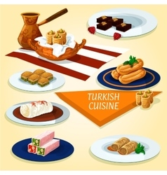 Turkish cuisine delights and desserts icon vector image vector image