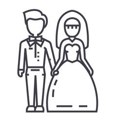 wedding couplebride and groom line icon vector image vector image