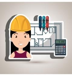 Woman architecture calculator plans vector